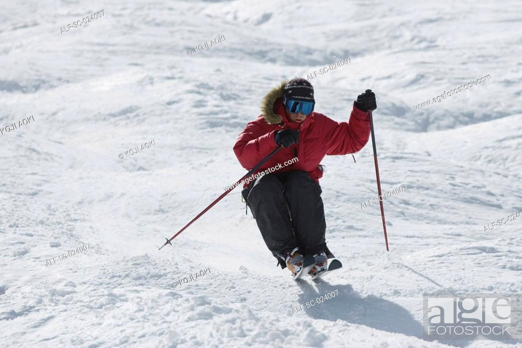 Stock Photo: Moguls Skier.