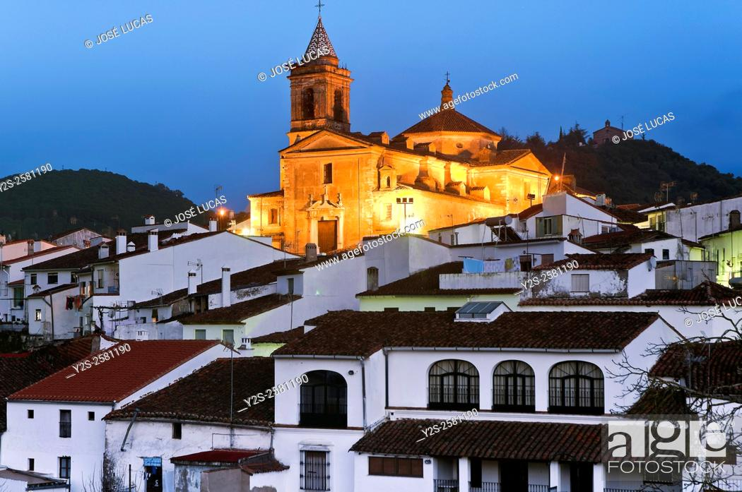 Stock Photo: Urban view at dusk, Galaroza, Huelva province, Region of Andalusia, Spain, Europe.