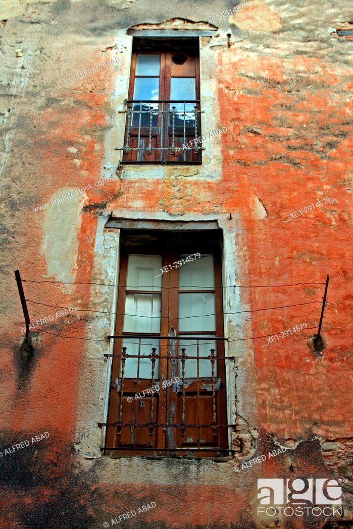 Stock Photo: Balconies, Amer, La Garrotxa, Catalonia, Spain.