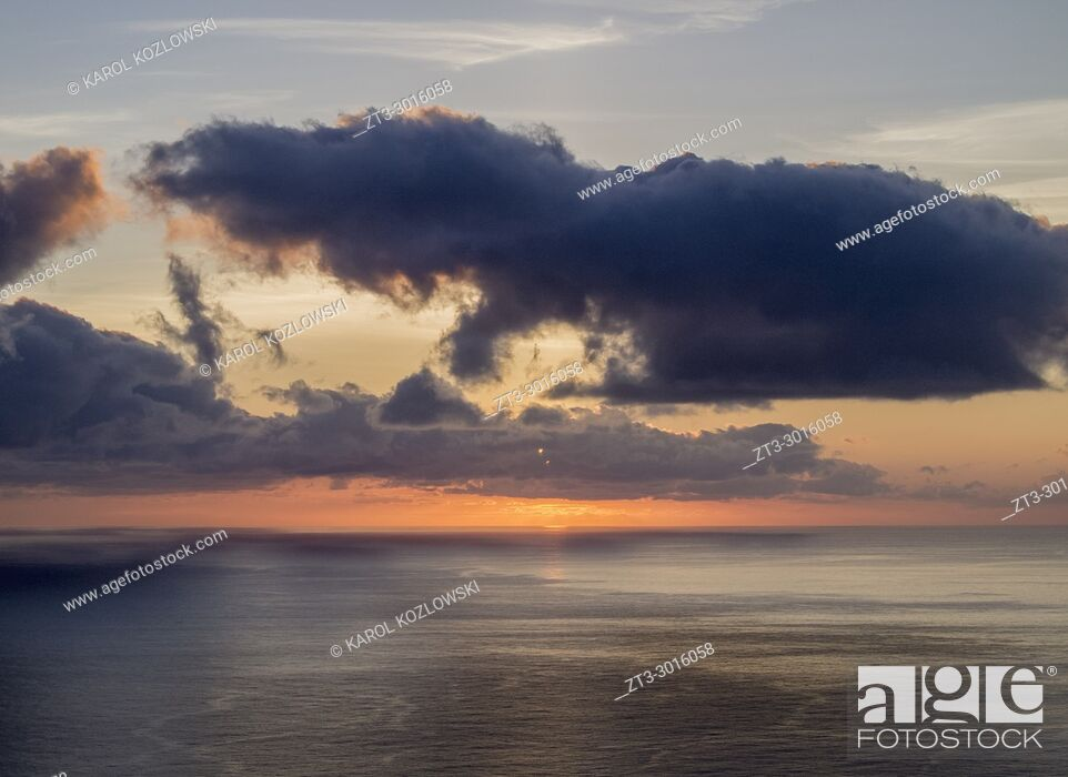 Stock Photo: Sunset near Lajedo, Flores Island, Azores, Portugal.