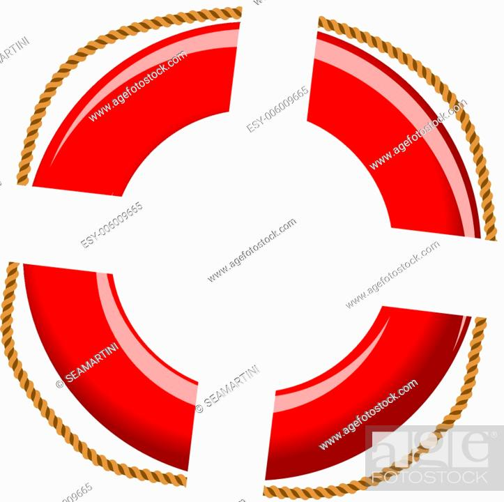 Stock Vector: Isolated life buoy with ropes for help or SOS concept.