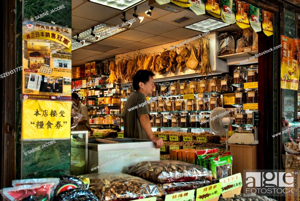 Asian grocery shop in Chinatown, New York City, Stock Photo