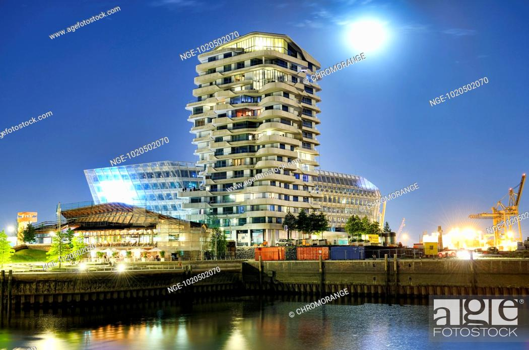 Marco Polo Tower and Unilever building in Hamburg, Germany, Stock ...