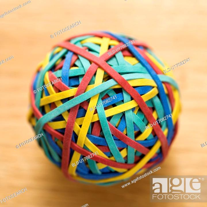 Stock Photo: Still life of colorful rubber band ball.