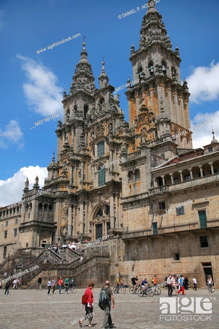 Stock Photo: Santiago Cathedral and Obradoiro square, Camino de Santiago, Galicia, Spain,.