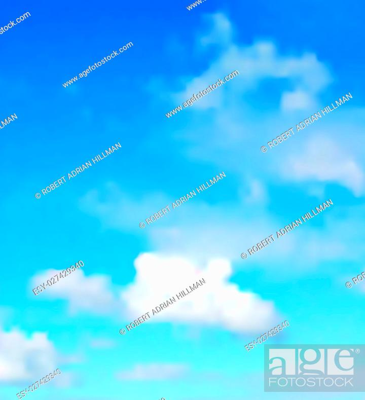 Stock Vector: Editable vector illustration of a single cloud in a blue sky made with a gradient mesh.