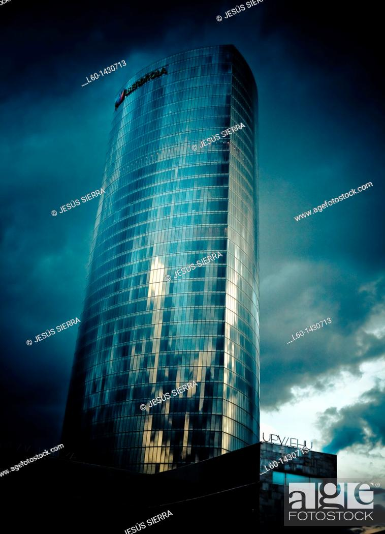 Stock Photo: View of Iberdrola building, Bilbao, Vizcaya, Basque Country, Spain.