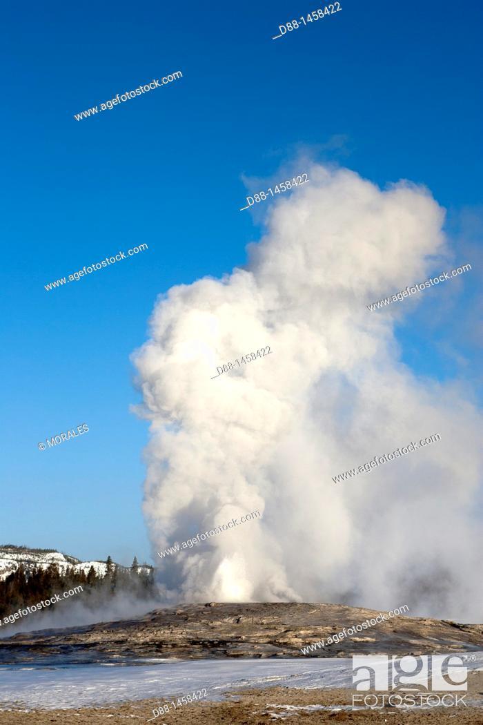 Stock Photo: Old Faithful geyser, Yellowstone National Park, Wyoming-Montana, USA.
