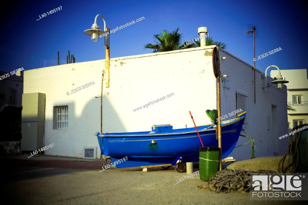 Stock Photo: Boat in street, Isleta del Moro, Cabo de Gata, Almeria.