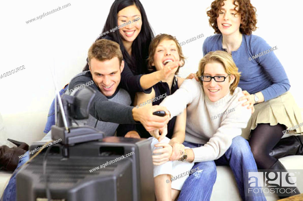 Stock Photo: Friends watching television.