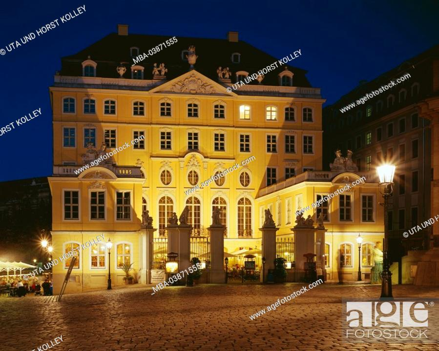 Stock Photo: Germany, Saxony, Dresden, Neumarkt, Coselpalais, illumination, evening, buildings, construction, style, rococo, builds architecture, sight, symbol, destination.