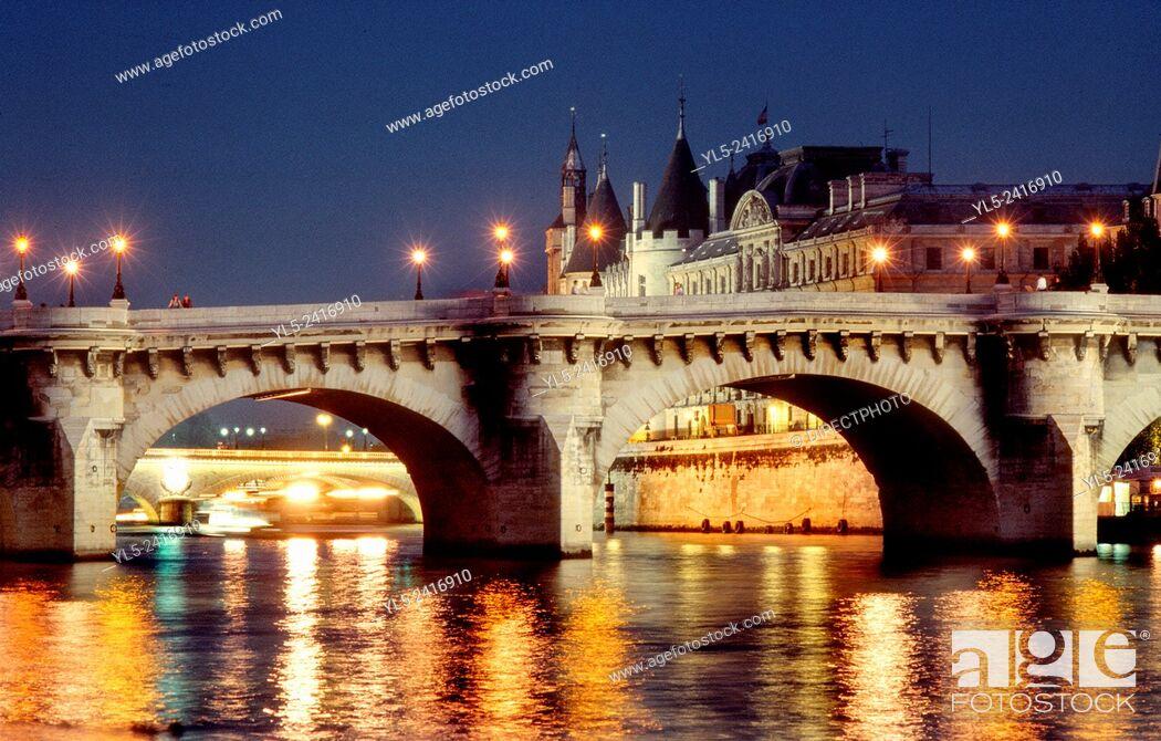 Stock Photo: Paris, France - Seine River, With Pont Neuf Bridge & Ile de la Cité, at Night.