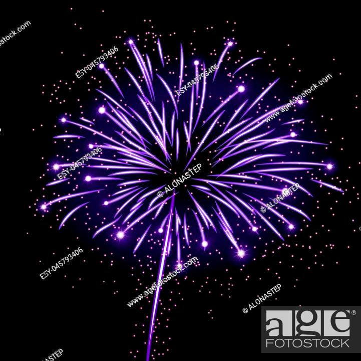 Stock Vector: Firework bursting sparkle background. Isolated colorful night fire, beautiful explosion for celebration, holiday, Christmas, New Year, birthday.