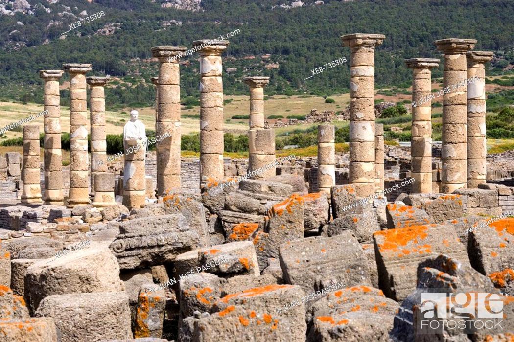 Stock Photo: Temple of Augustus, ruins of old roman city of Baelo Claudia, Tarifa. Cadiz province, Andalucia, Spain.