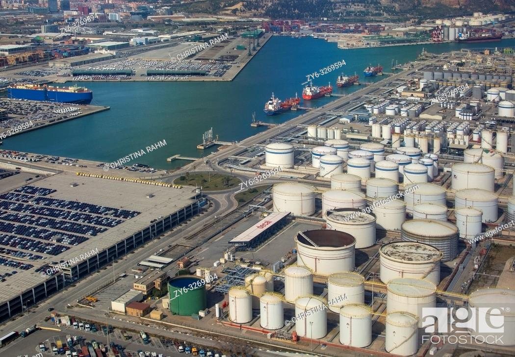 Stock Photo: Aerial view of petroleum gas and oil depots storage area in Barcelona, Spain.
