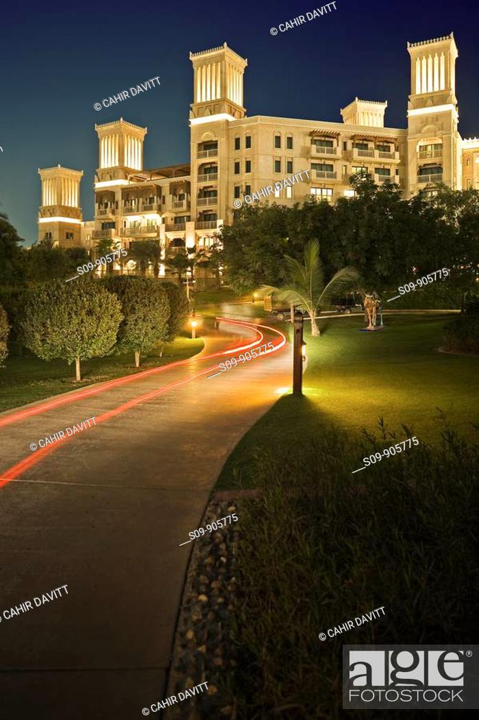 Stock Photo: United Arab Emirates, Dubai, Al Safouh First District, traditional wind tower details of the Al Qasr Hotel in the Madinat Jumeriah resort complex at night.