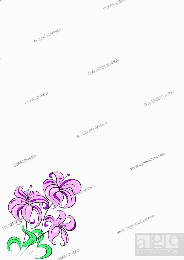 Stock Vector: Illustration - stylized bouquet of flowers similar to lily.