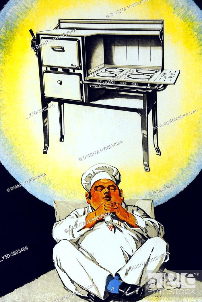 Imagen: Poster by Swiss graphic artist Edouard Elzingre (1880 - 1966) ' La Reve' circa 1925, Le Reve cookers were very popular in many Geneva households.