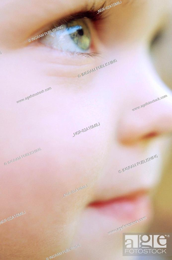 Stock Photo: Close Up Profile of Young Child.