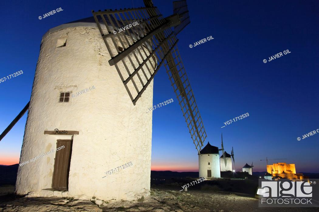 Stock Photo: Windmills, Consuegra, Toledo, Castilla la Mancha, Spain.