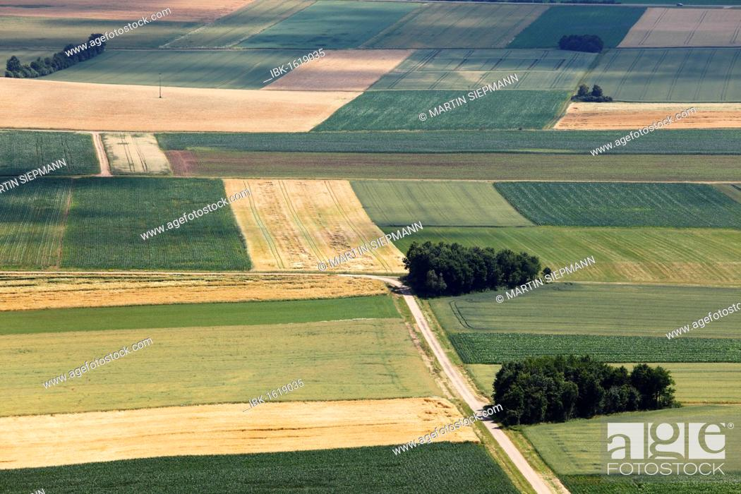 Stock Photo: Agricultural landscape, view from Hesselberg mountain, Middle Franconia, Franconia, Bavaria, Germany, Europe.