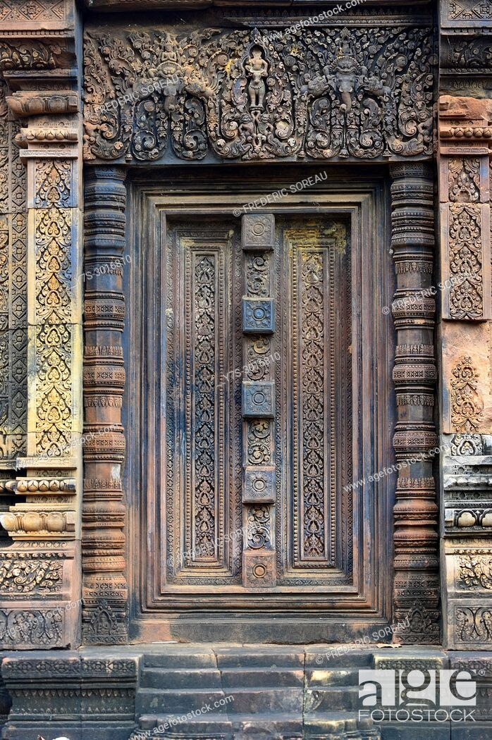 Stock Photo: Carved door, Banteay Srei temple, Angkor, Cambodia, South East Asia, Asia.