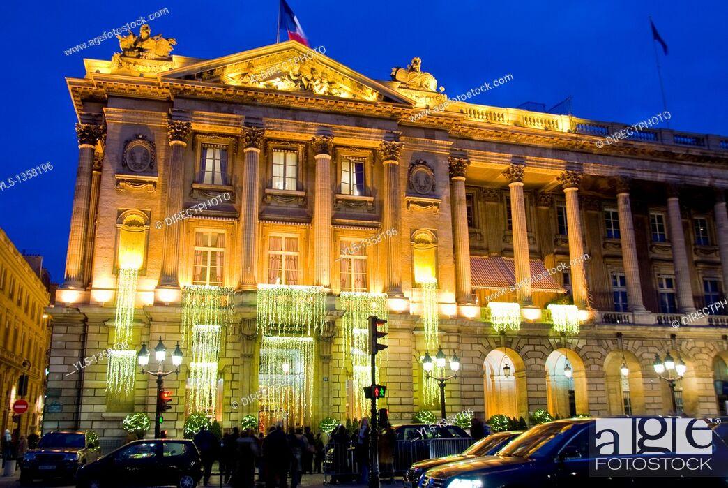 Stock Photo: Paris, France, Deluxe Hotel, Hotel de Crillon, Place de la Concorde, Lit up with Christmas Decorations at night Monument.