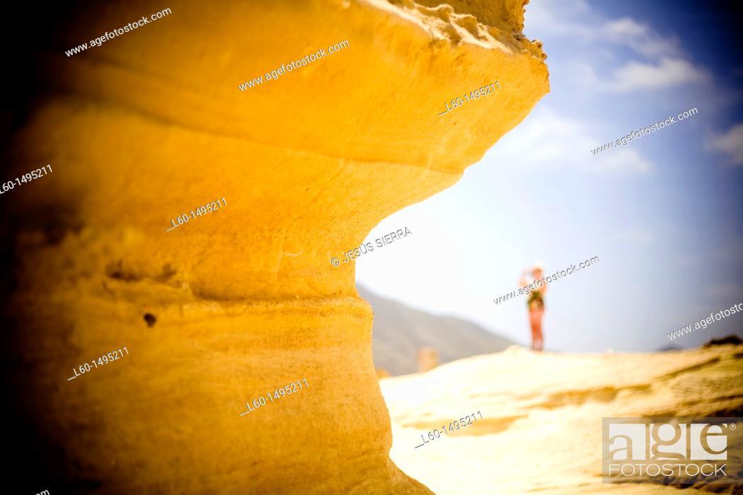 Stock Photo: Rock in El Playazo, Cabo de Gata, Almeria, Spain.