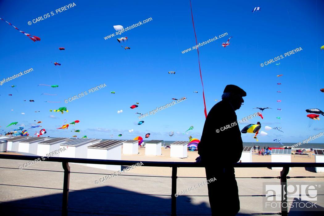 Stock Photo: International Kite Festival in Ostend, Belgium, Europe.
