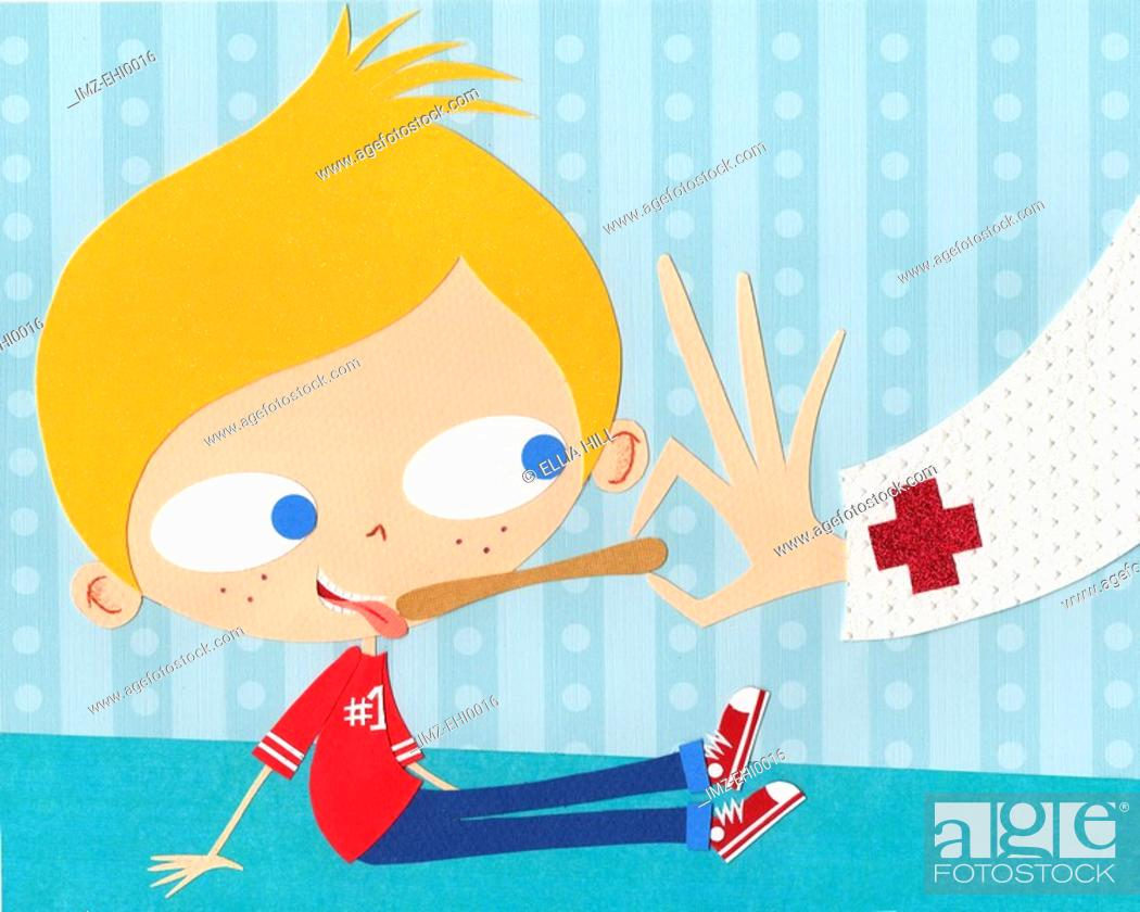 Stock Photo: A paper cut illustration of a boy having a medical check up.