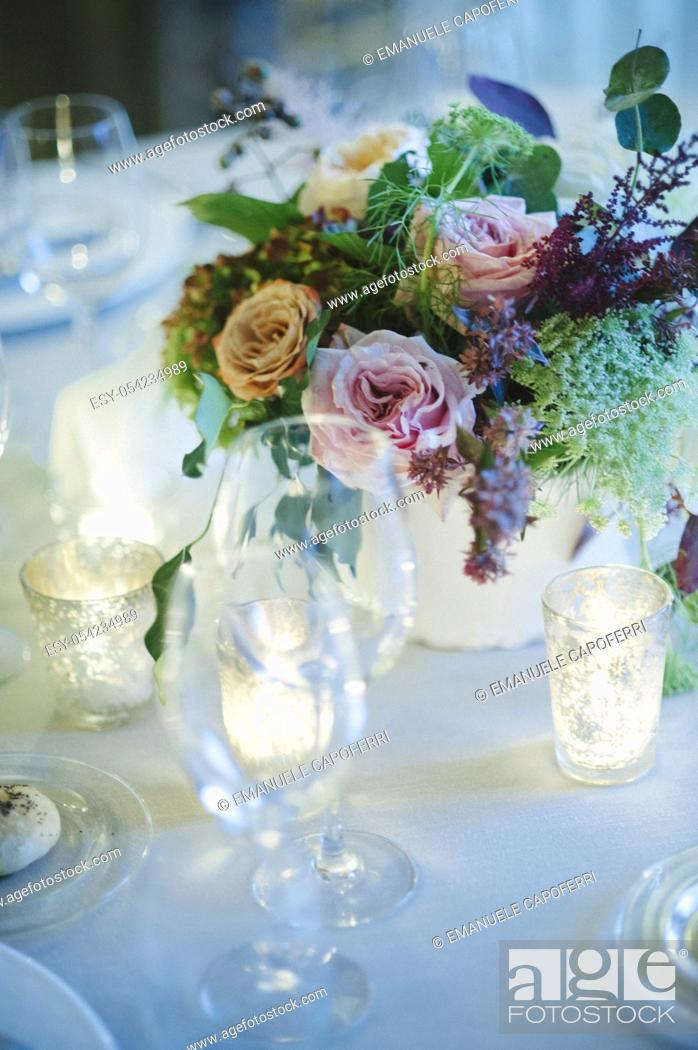 Stock Photo: Detail of table prepared for the wedding feast.