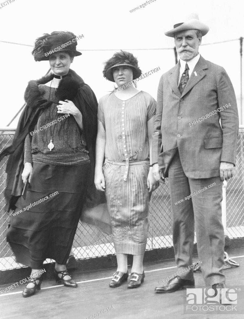 Stock Photo: Secretary of State Charles Evans Hughes leaving for Europe on July 12, 1924. He would meet with European WW1 Allies negotiate the Dawes Plan to restructure the.