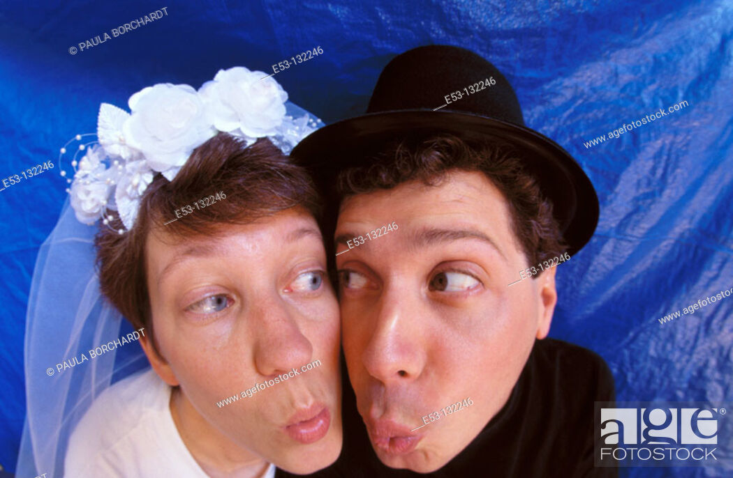 Stock Photo: Funny portrait of bride and groom.