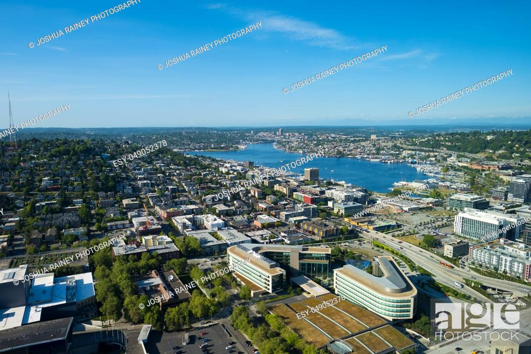 Stock Photo: Seattle, WA - June 4, 2019: View of Lake Union during a Spring day as seen from the top of the Space Needle facing North.