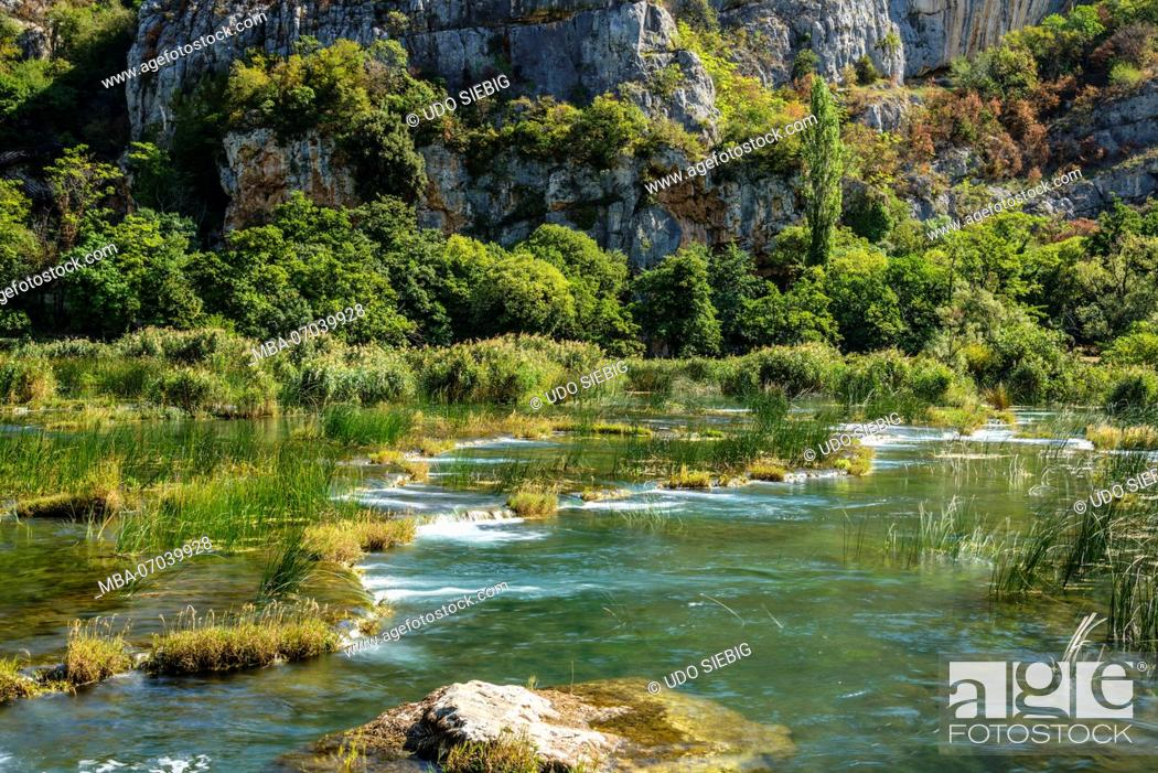 Stock Photo: Croatia, Dalmatia, region of Sibenik, Krka National Park, Roski Slap, Krka Gorge.