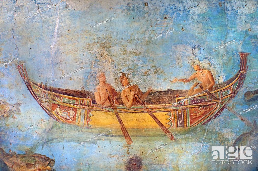 Stock Photo: Roman Fresco with a boat decorated for a festival and marine life from the second quarter of the first century AD. (mosaico fauna marina da porto fluviale di.