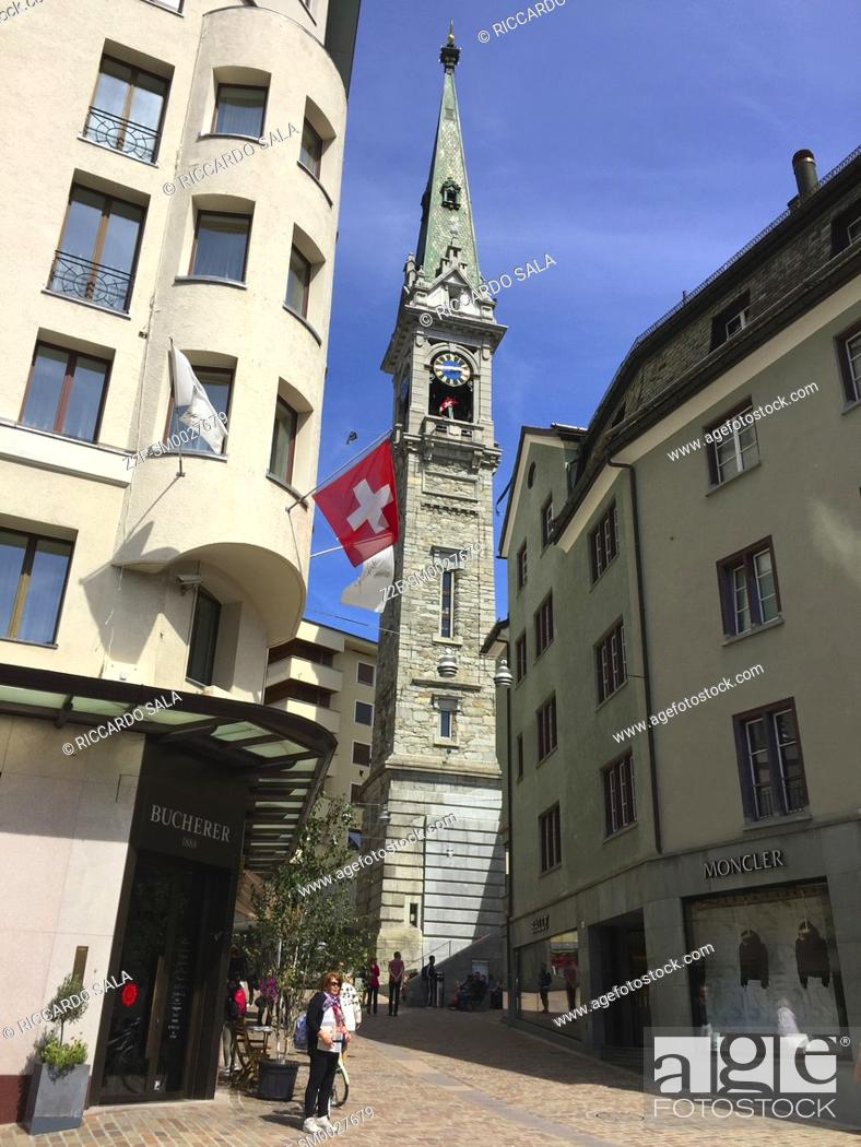 Stock Photo: Switzerland, Graubunden Canton, Saint Moritz, Tower of Evangelische Kirke .