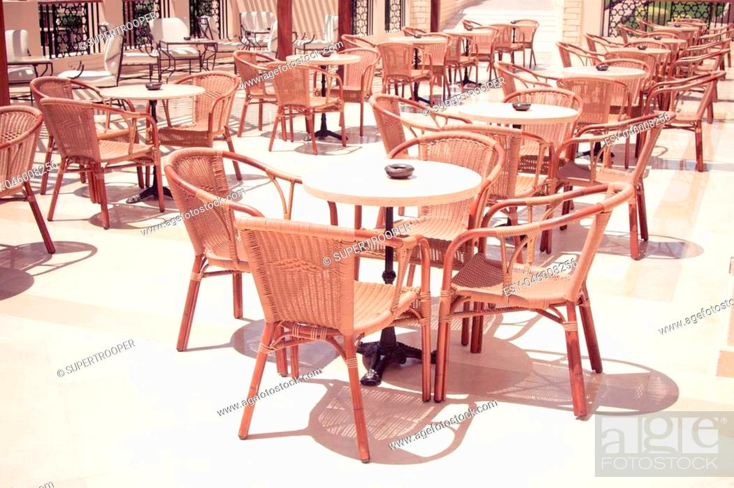 Cafeteria Outdoor Cafe Tables And Chairs Outdoor Restaurant Coffee Open Air Cafe Stock Photo Picture And Low Budget Royalty Free Image Pic Esy 046008256 Agefotostock