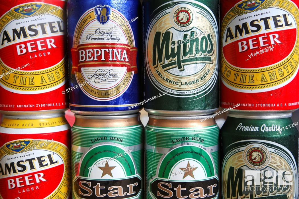 Stock Photo: Greek Beers  Cans of Amstel, Mythos, Star and Vergina brands.