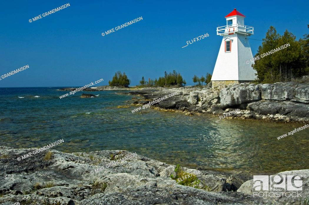 Stock Photo: Lighthouse on Manitoulin Island, South Baymouth, Ontario.