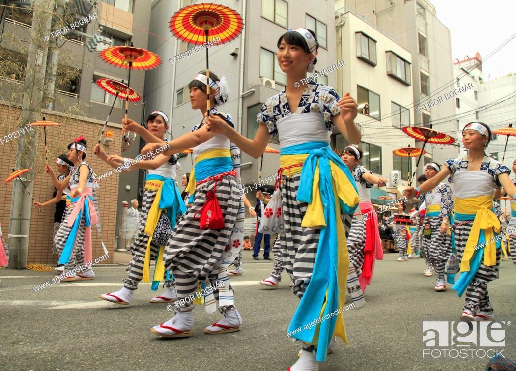 Stock Photo: Japan, Osaka, Tenjin Matsuri, festival, procession, people,.