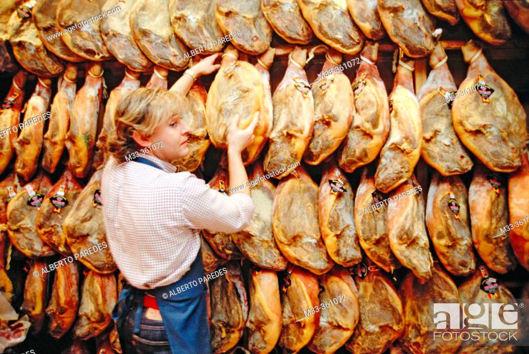 Stock Photo: Rokelin Ham shop. Teruel. Aragón. Spain.