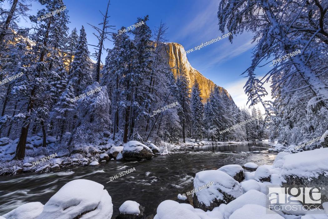 Stock Photo: El Capitan above the Merced River in winter, Yosemite National Park, California USA.