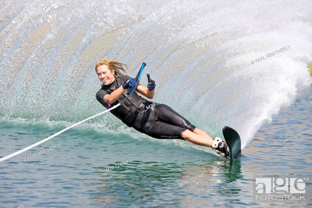 Stock Photo: Woman waterskiing, Bellevue, Idaho, USA.