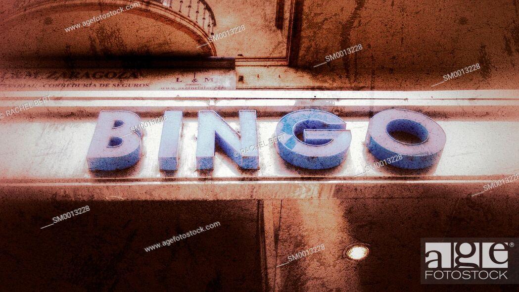 Stock Photo: Bingo sign, Conde Aranda Street, Saragossa, Aragon, Spain.