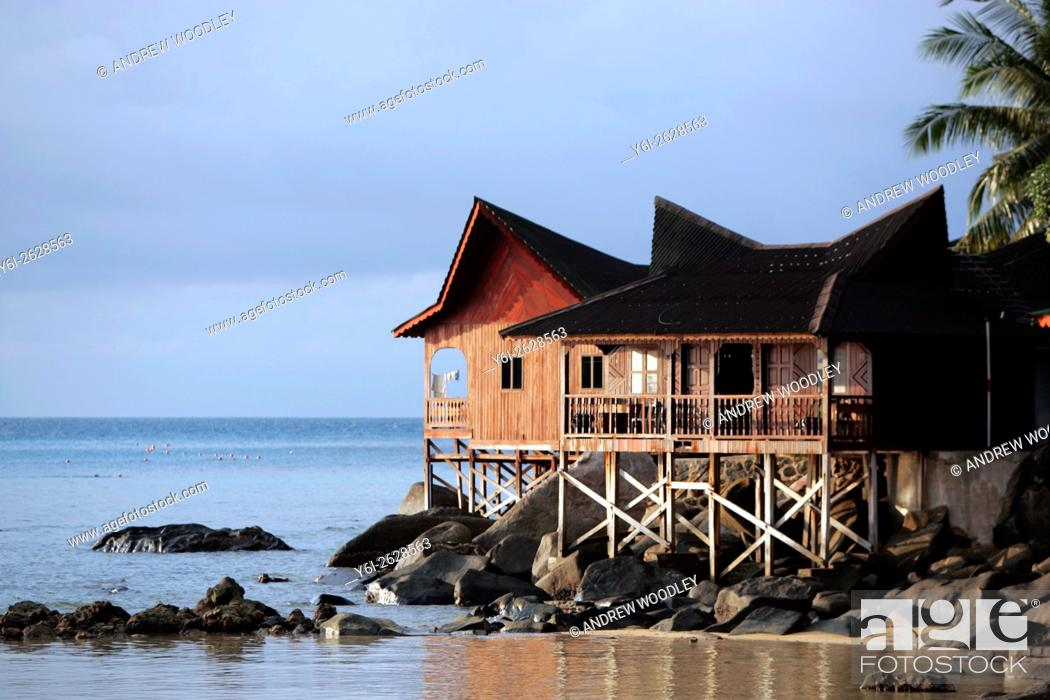 Stock Photo: Picturesque Malaysian style beach bungalow on stilts Salang Beach Tioman Island Malaysia.