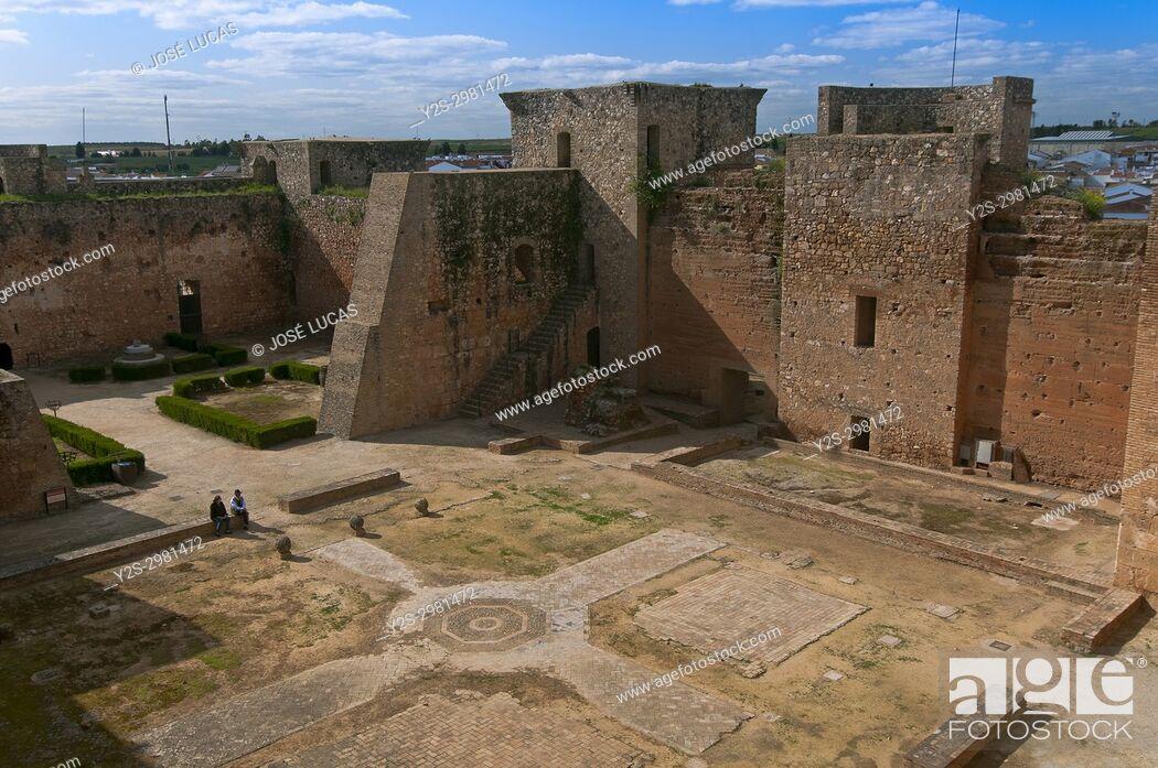 Stock Photo: Castle of the Guzmanes - 15th century, Niebla, Huelva province, Region of Andalusia, Spain, Europe.