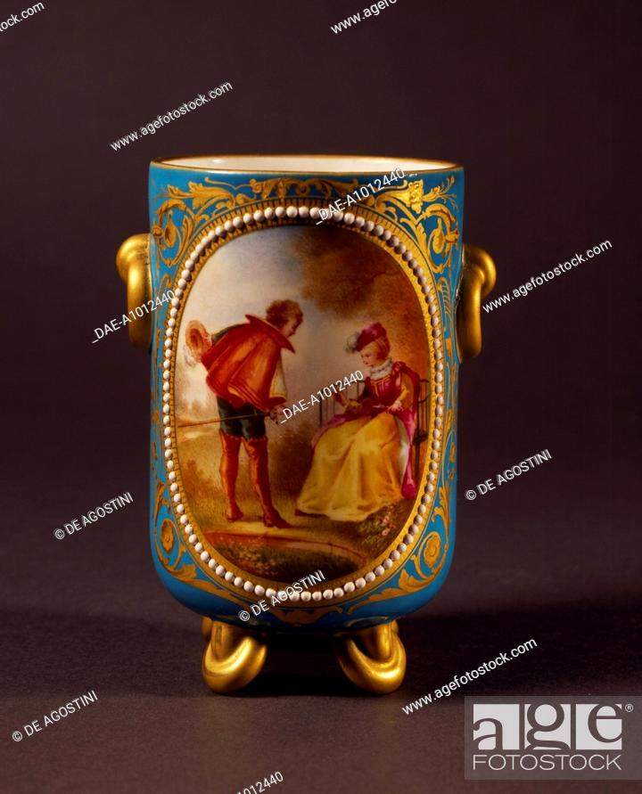 Stock Photo: Glass with courtly scene in 1740s style, 1860, porcelain, Parisian manufacture. France, 19th century.  Florence, Museo Stibbert (Art Museum).