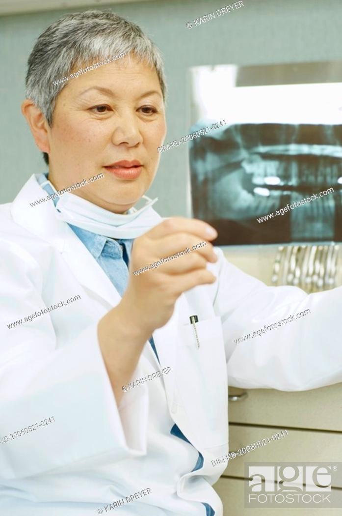 Stock Photo: Senior Asian female dentist looking at x-rays.