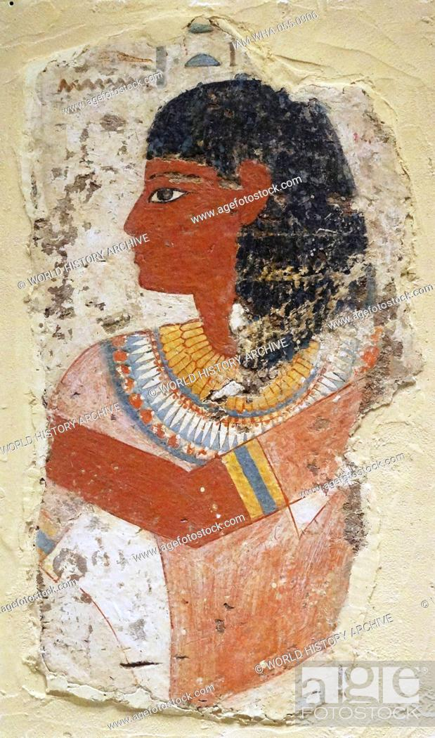 Stock Photo: Tomb painting depicting the king's chief sculptor, Nebamun, bringing an offering to the gods. From the 14th century.